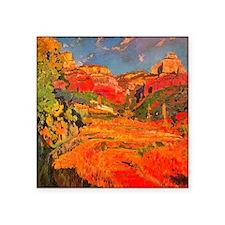 "Joaquin Mir Red Valley Square Sticker 3"" x 3"""