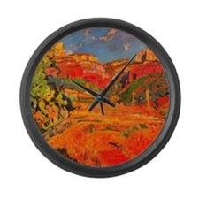 Joaquin Mir Red Valley Large Wall Clock