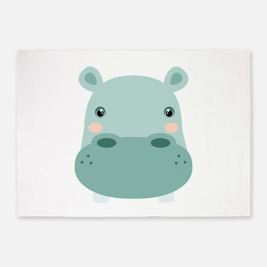 Cute Hippo 5'x7'Area Rug