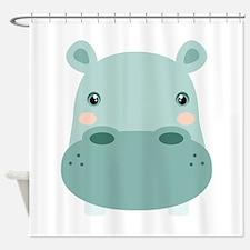 Cute Hippo Shower Curtain