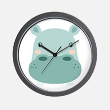 Cute Hippo Wall Clock