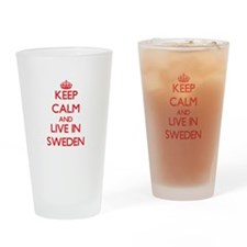 Keep Calm and live in Sweden Drinking Glass