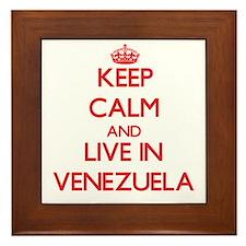 Keep Calm and live in Venezuela Framed Tile