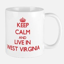 Keep Calm and live in West Virginia Mugs
