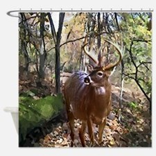 Woodland Buck Deer Shower Curtain