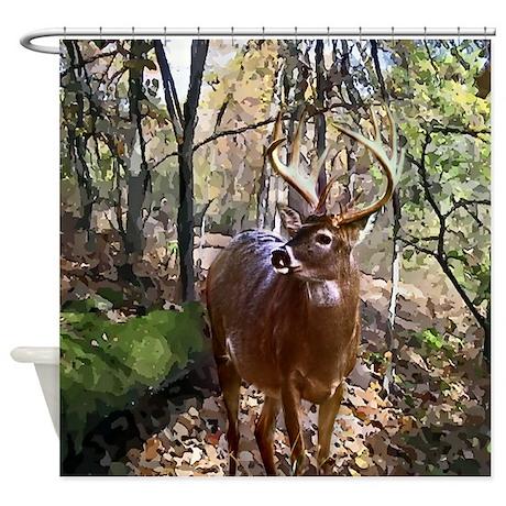 Woodland Buck Deer Shower Curtain