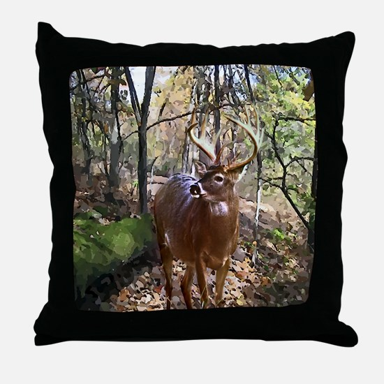 Woodland Buck Deer Throw Pillow