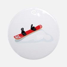 Red Snowboard Ornament (Round)