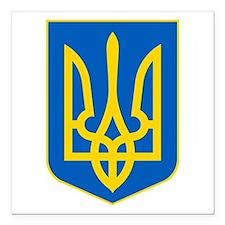 """Ukraine Coat of Arms Square Car Magnet 3"""" x 3"""""""