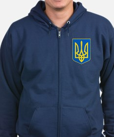 Ukraine Coat of Arms Zip Hoodie