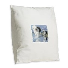 Old English Sheepdo... Burlap Throw Pillow