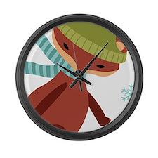 Skating Fox Large Wall Clock