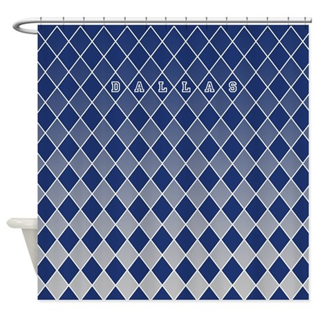Dallas Grey And Blue Shower Curtain By CurtainsForShowers