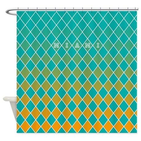 Miami Teal And Orange Shower Curtain By CurtainsForShowers