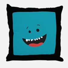Silly Face - Teal Throw Pillow