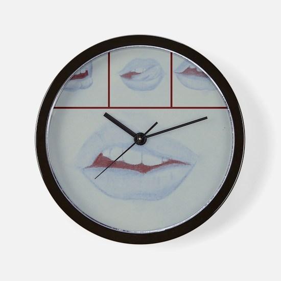 Lips (blue) Wall Clock