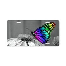 Flower with Butterfly Aluminum License Plate