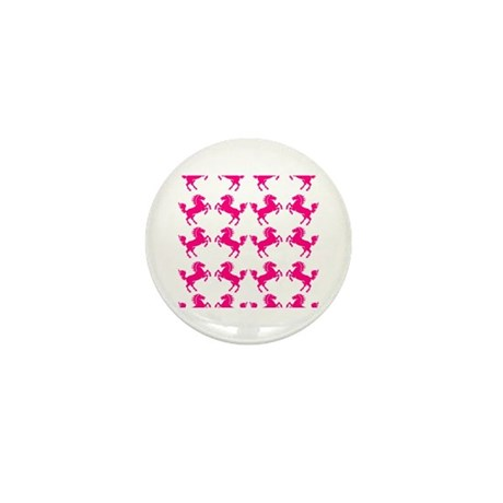Pink Prancing Horses Mini Button