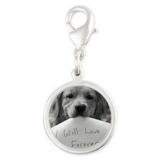 puppy love Silver Round Charm