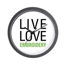 Live Love Embroidery Wall Clock