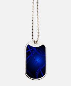 Blue Abstract Art Dog Tags