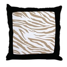 Cream Zebra Print Throw Pillow