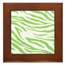 Green Zebra Print Framed Tile