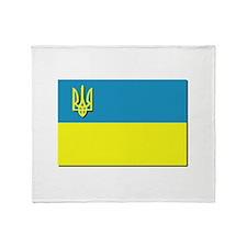 Flag of Ukrainian Trident Throw Blanket