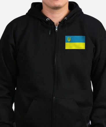 Flag of Ukrainian Trident Zip Hoodie (dark)