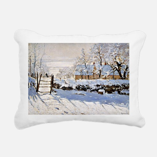 Claude Monet - The Magpi Rectangular Canvas Pillow