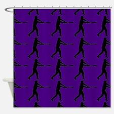 Purple Baseball Batter Pattern Shower Curtain