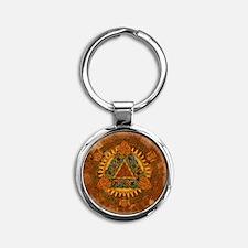 Celtic Pyramid Mandala Round Keychain