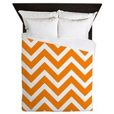 Orange Chevrons Queen Duvet