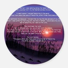 Footprints in the Sand Round Car Magnet