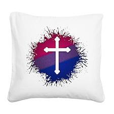Bisexual Pride Cross Square Canvas Pillow