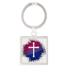 Bisexual Pride Cross Square Keychain