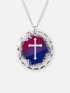 Bisexual Pride Cross Necklace