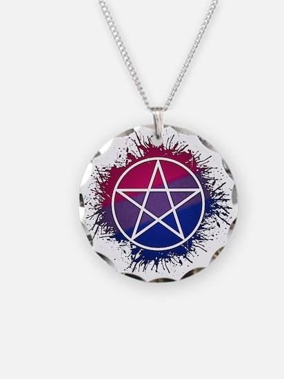 Bisexual Pride Pentacle Necklace Circle Charm