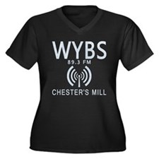 WYBS Radio U Women's Plus Size V-Neck Dark T-Shirt