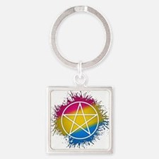 Pansexual Pride Pentacle Square Keychain