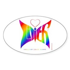 Lilith Rainbow Butterfly Oval Decal