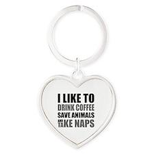 Drink Coffee, Save Animals, Take Na Heart Keychain
