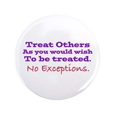"""No Exceptions large type 3.5"""" Button"""