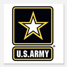 "Us Army Gold Star Logo Square Car Magnet 3"" X"