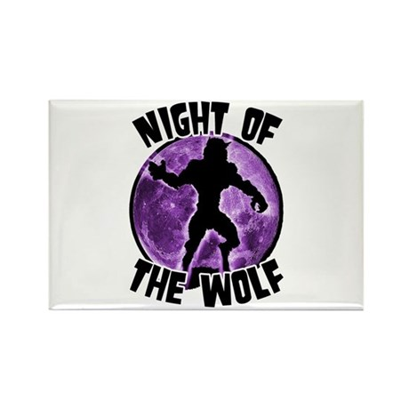 Night of the Wolf Purple Rectangle Magnet