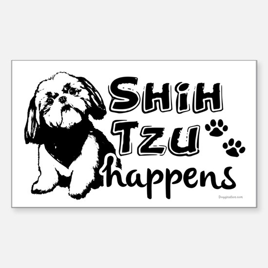 shih tzu happens Sticker (Rectangle)
