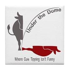 Under the Dome Cow Tipping Tile Coaster