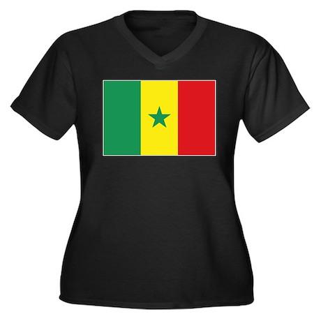 Flag Senegal Women's Plus Size V-Neck Dark T-Shirt