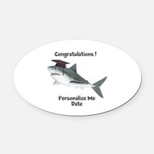 Graduation Shark Oval Car Magnet