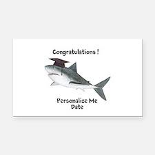 Graduation Shark Rectangle Car Magnet